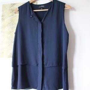 Ann Taylor Navy work blouse